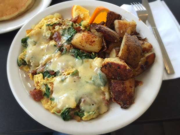 Florentine Scramble - bacon, spinach, onions, and swiss cheese.