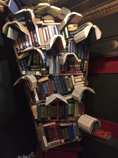 Up close of flying books