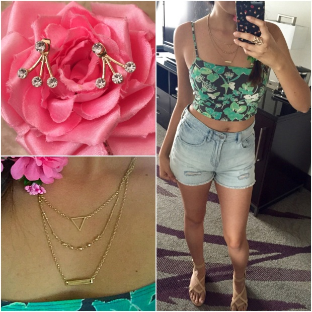 Crop top outfit and jewelry