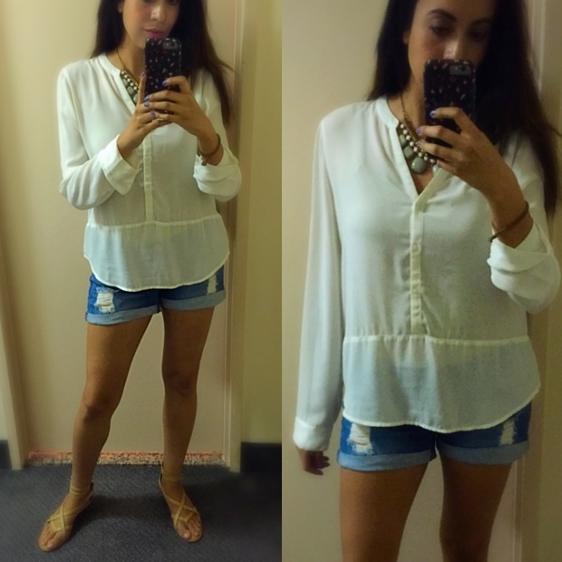 OOTD White top Ripped shorts