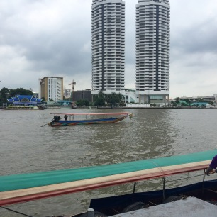 Getting ready to board the long-boat for a tour of the temples along the Chao Phraya River.