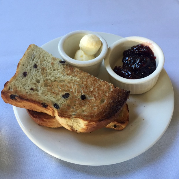 Raisin Rosemary Toast with Butter and Jam