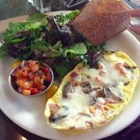 Mushroom and onion omelette