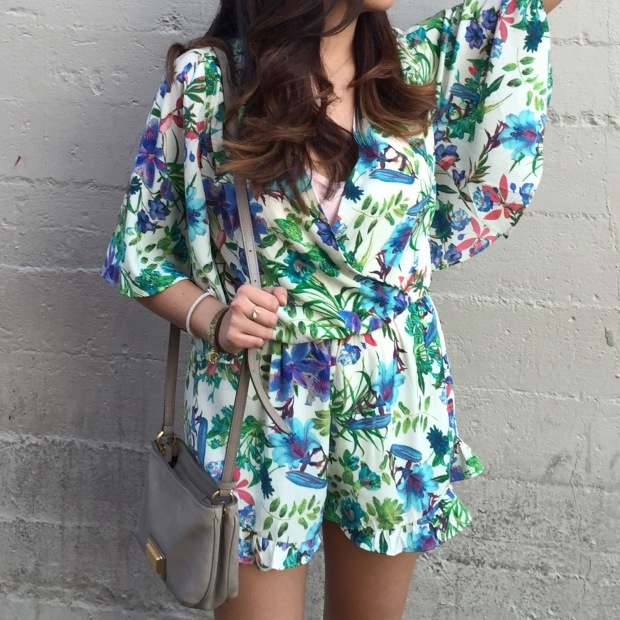 Floral Romper and Purse