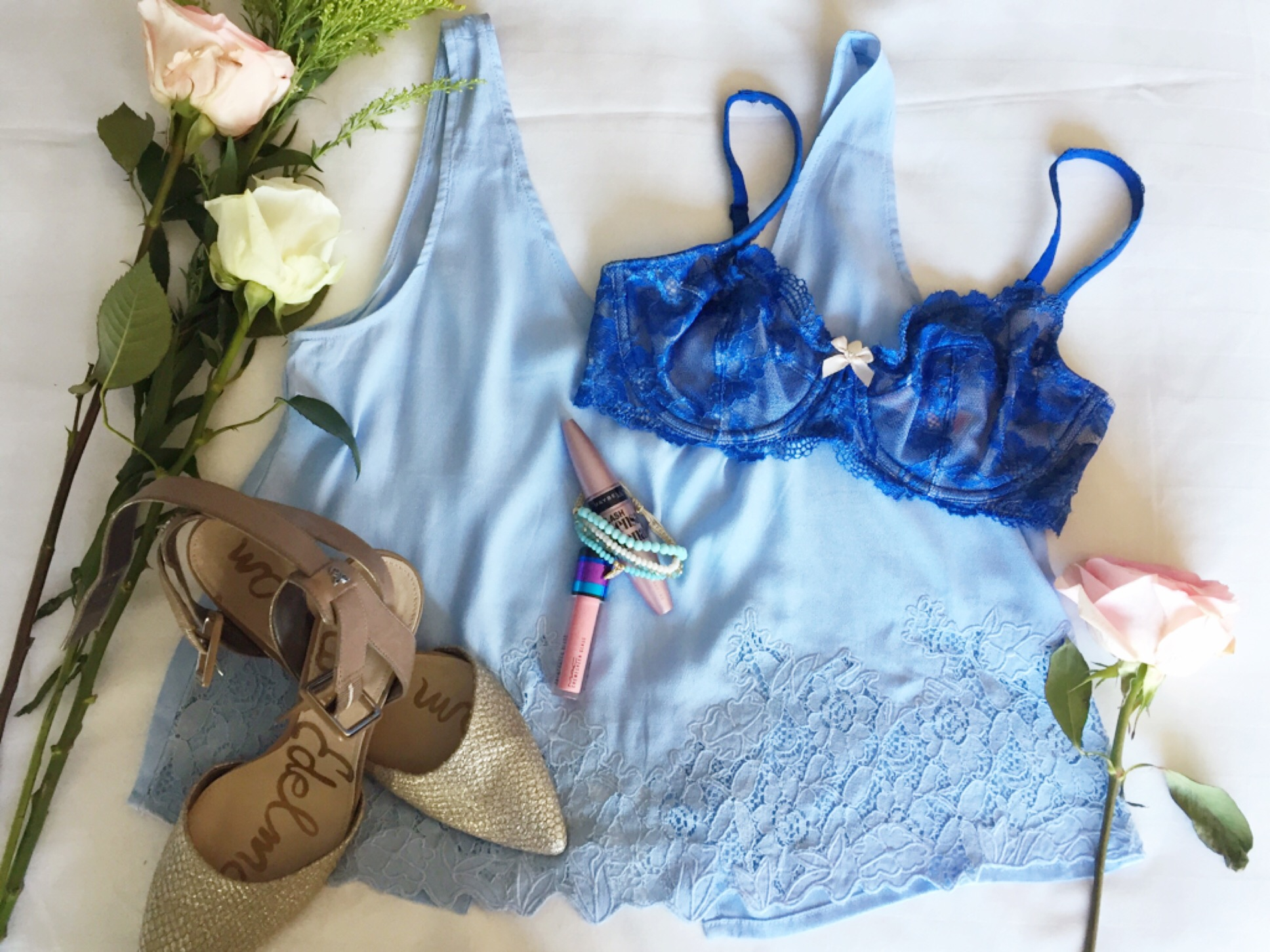 Sexy Summer Lingerie Flat Lay Roses